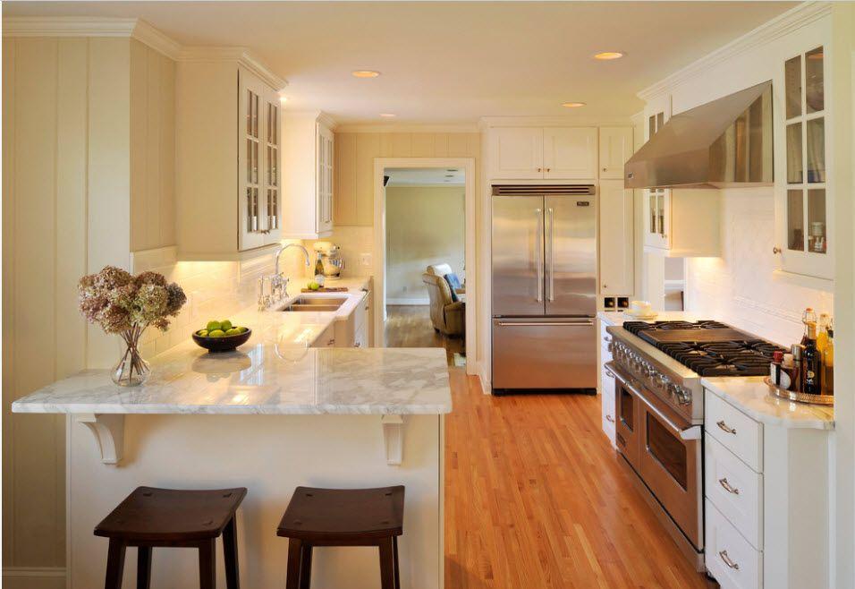 Steel gray kitchen interior design with merging aplliances