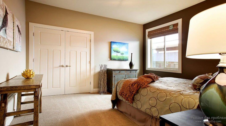 Brown Color Interior Decoration Ideas. Kitchen, Bedroom, Living Room. Large bedroom with double door