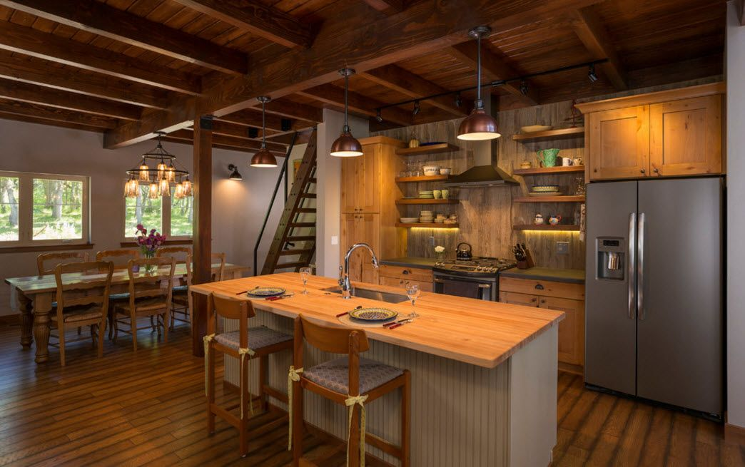Total rusticality for the modern kitchen interior in the suburb house