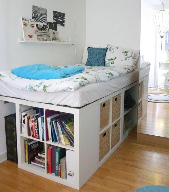 A whole library and storage system for the podium-bed