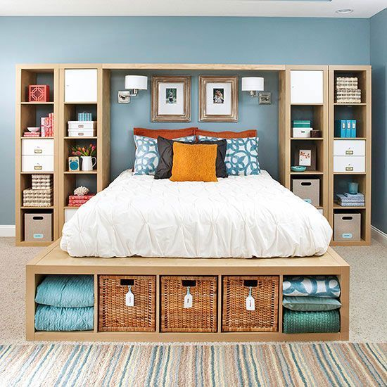 Legboard storage, cabinets and many functional space in the bedroom