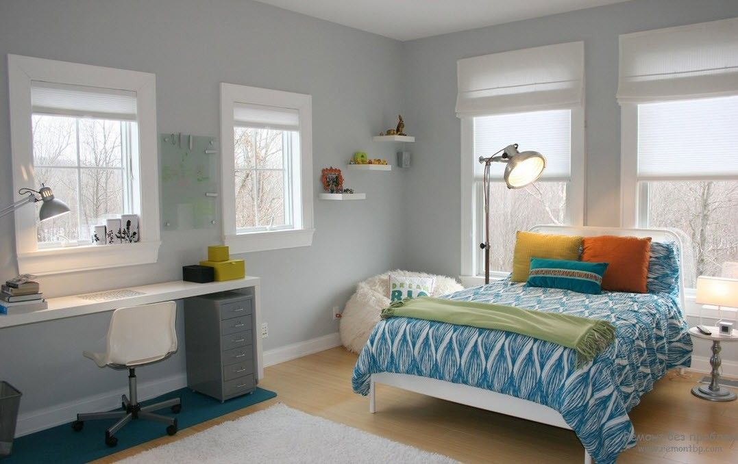 Modern Youth Interior Design. Photo Ideas. Multifunctional room with the work place and sleeper in gray tones