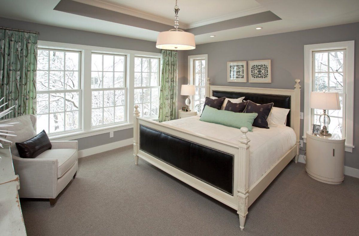 Gray Color Interior Decoration. Simple Elegance for Your Apartment. Classic American setting of the master bedroom