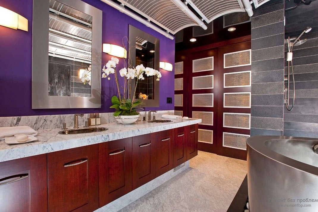Purple Color Interior Decoration Ideas. Large bathroom with hovering wooden vanities