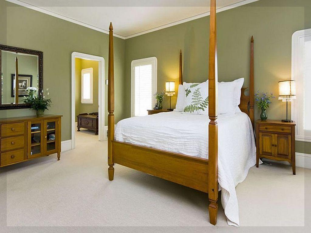 Монохромные оливковые стены и белый потолок для классической спальни с кроватью с балдахином
