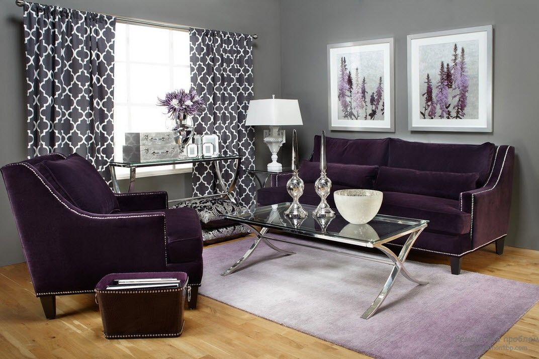 Purple Color Interior Decoration Ideas. Large living with the glass table and purple upholstered armchairs