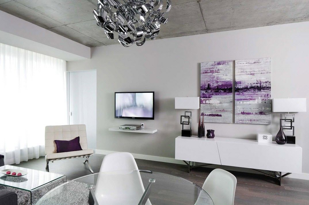 Purple Color Interior Decoration Ideas. hite minimalism and the violet touch of the picture