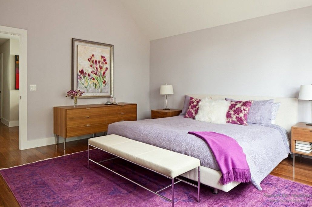 Bedroom with spectacular fluffy violet carpet