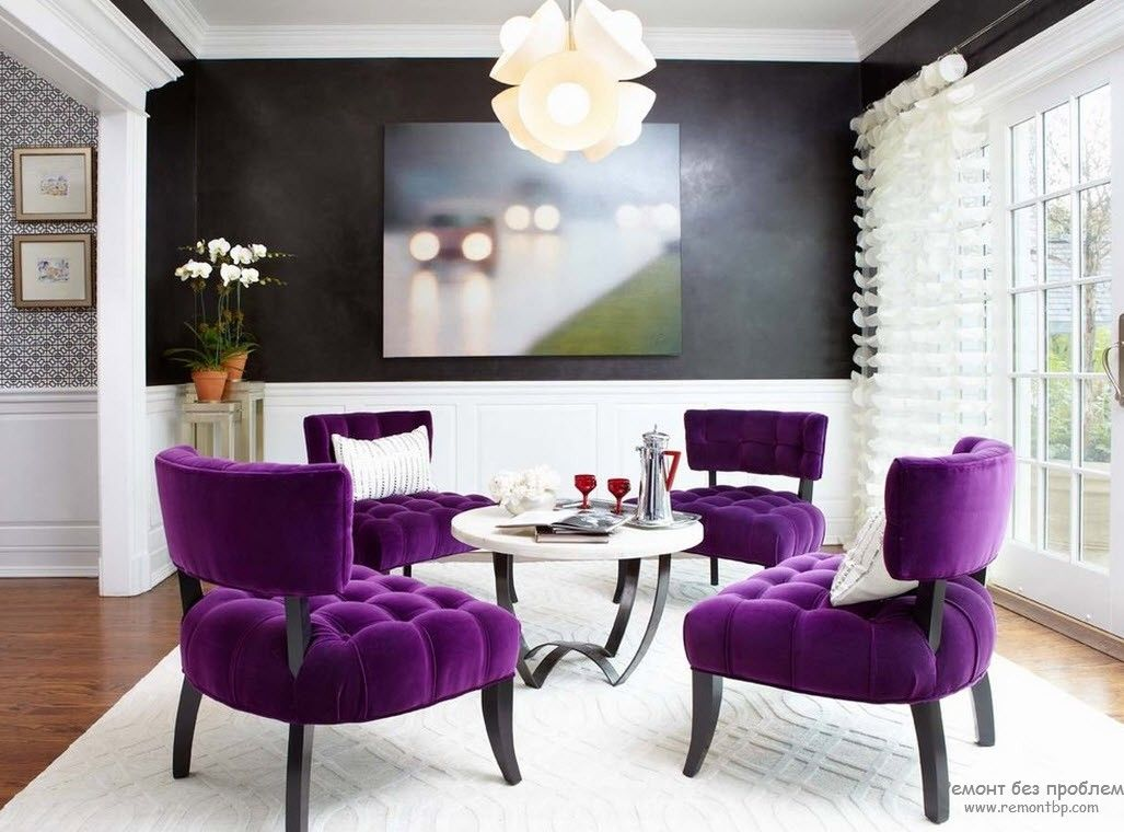 Purple Color Interior Decoration Ideas. Striking purple quilted armchairs design