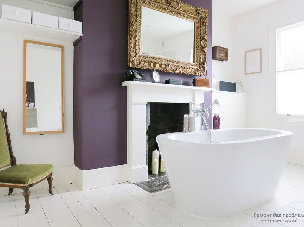 Purple Color Interior Decoration Ideas. Violet framing of the accent wall with the large mirror and the fireplace