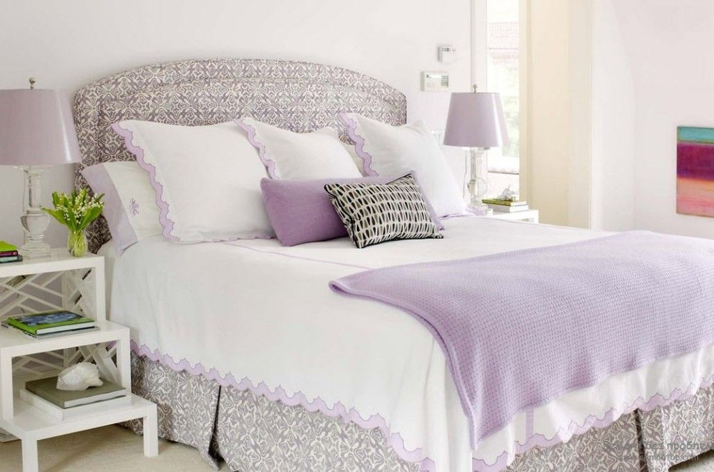 Pastel colored bedroom with pale pink and white linen