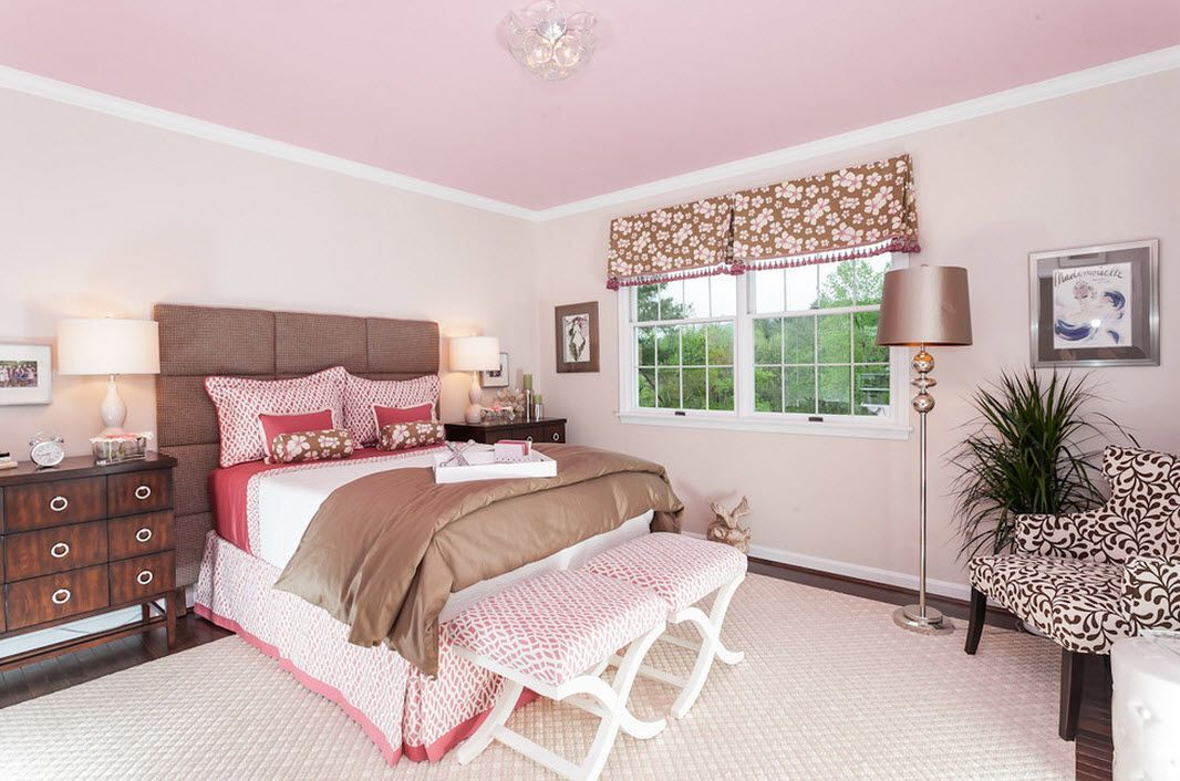 Pink Color for Modern Romantic Interior Designs. Raspberry hue for tender Contemporary styled bedroom with pale colored ottoman
