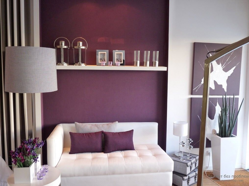 Purple Color Interior Decoration Ideas. Accent Wall With The Shelf For The  Romantic Evenings