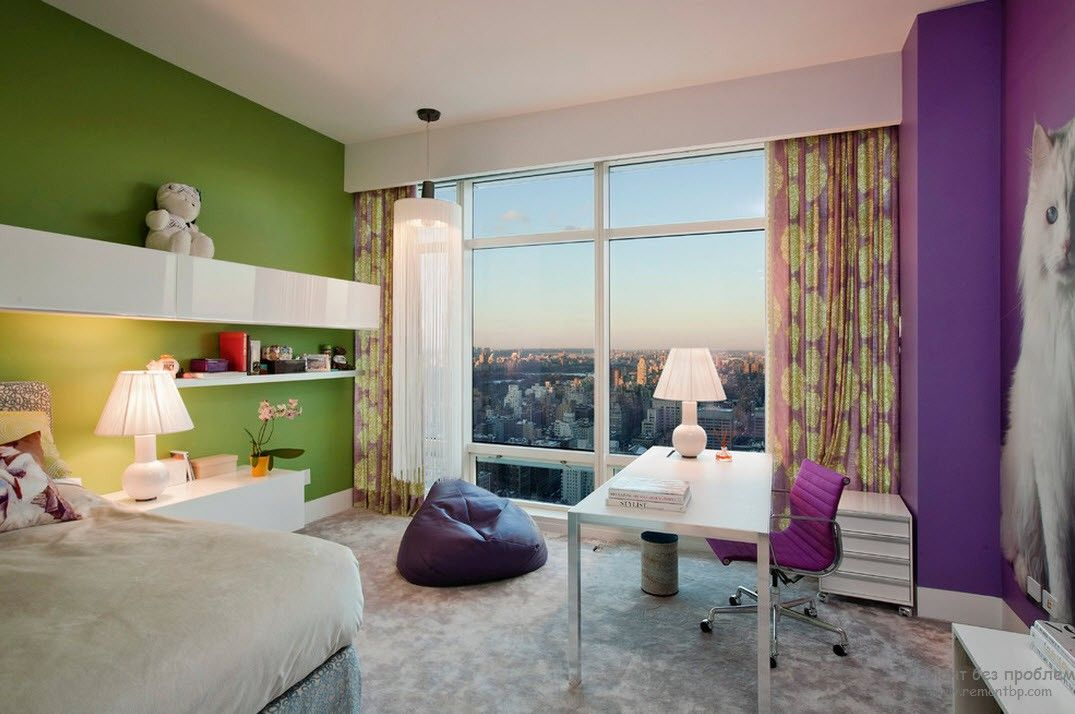 Purple Color Interior Decoration Ideas. Green and Velvet contrast in the light lit bedroom of the urban apartment