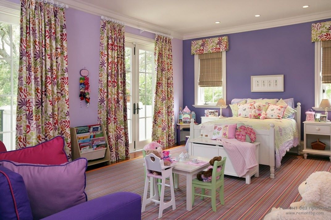 Purple Color Interior Decoration Ideas. A little bit cartoon-like girlish setting in the living room