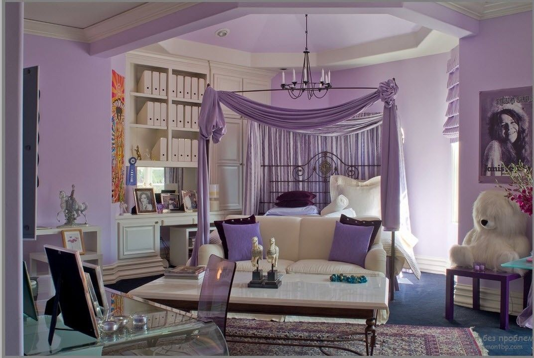 Purple Color Interior Decoration Ideas. Canopy for the resting zone
