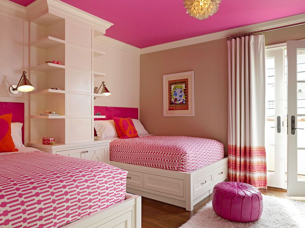 Pink Color for Modern Romantic Interior Designs. Shelving and podium beds in the luscious interior