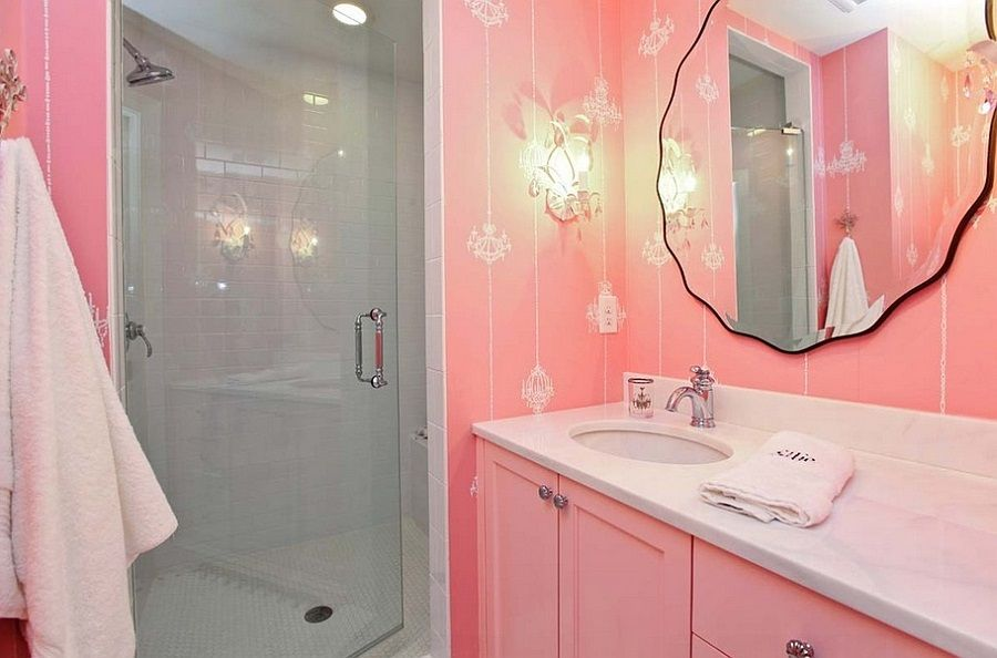 Pink bathroom is very warm and nice looking