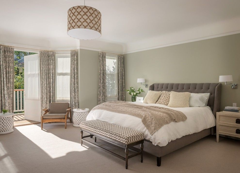 Noble and light fresh design for Casual styled master bedroom with pale olive painted walls