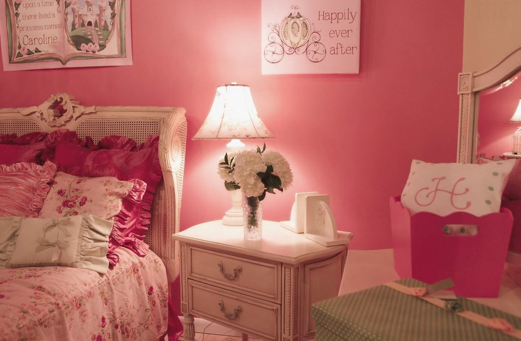 Pink Color for Modern Romantic Interior Designs. White boudoir and lamp contrasting against the wall