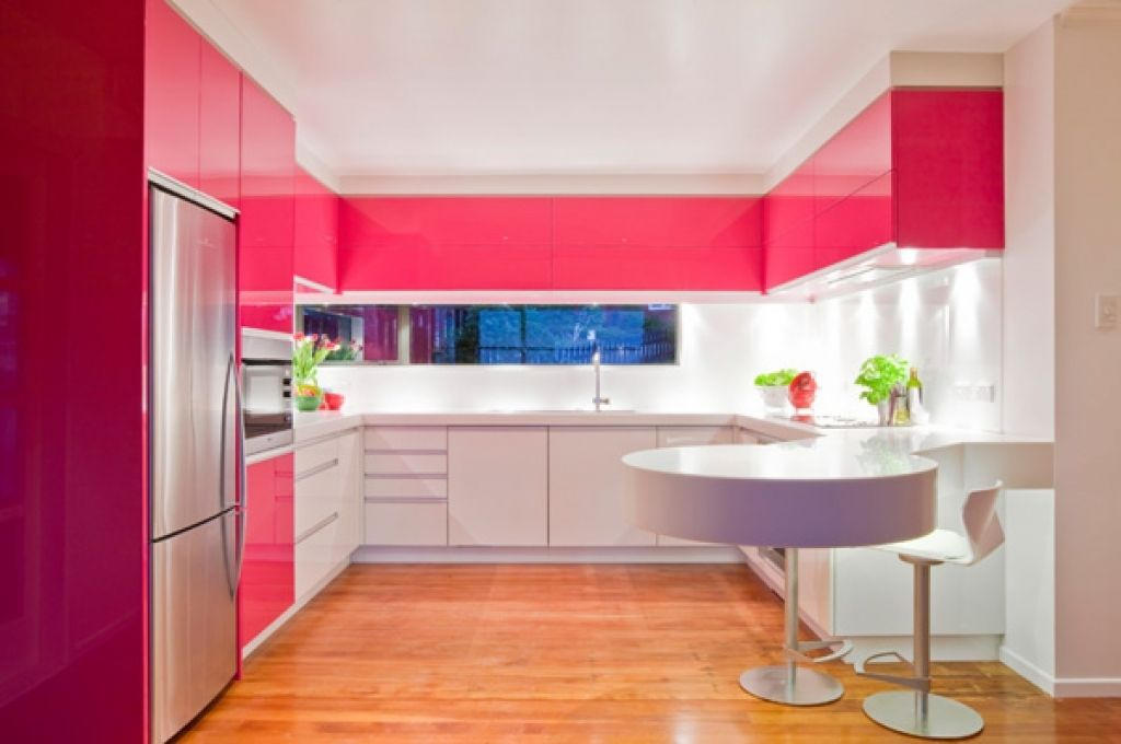 Pink Color for Modern Romantic Interior Designs. Appetizing glance pink top tier of the kitchen set