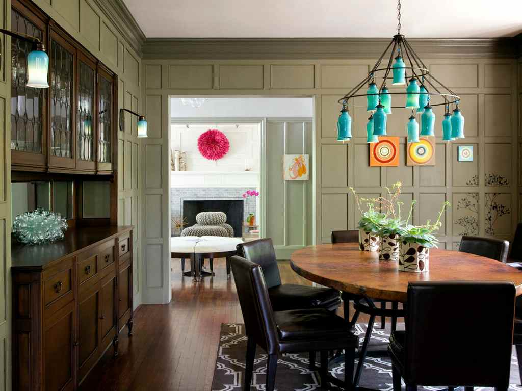 Olive Color for Interior Decoration. Real Photo Examples. Classic decor of panels in the dining room