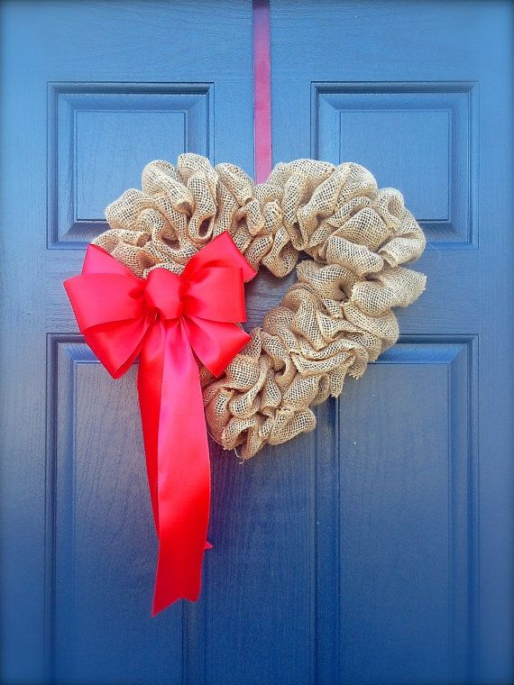 Entrance door DIY decoration in form of heart
