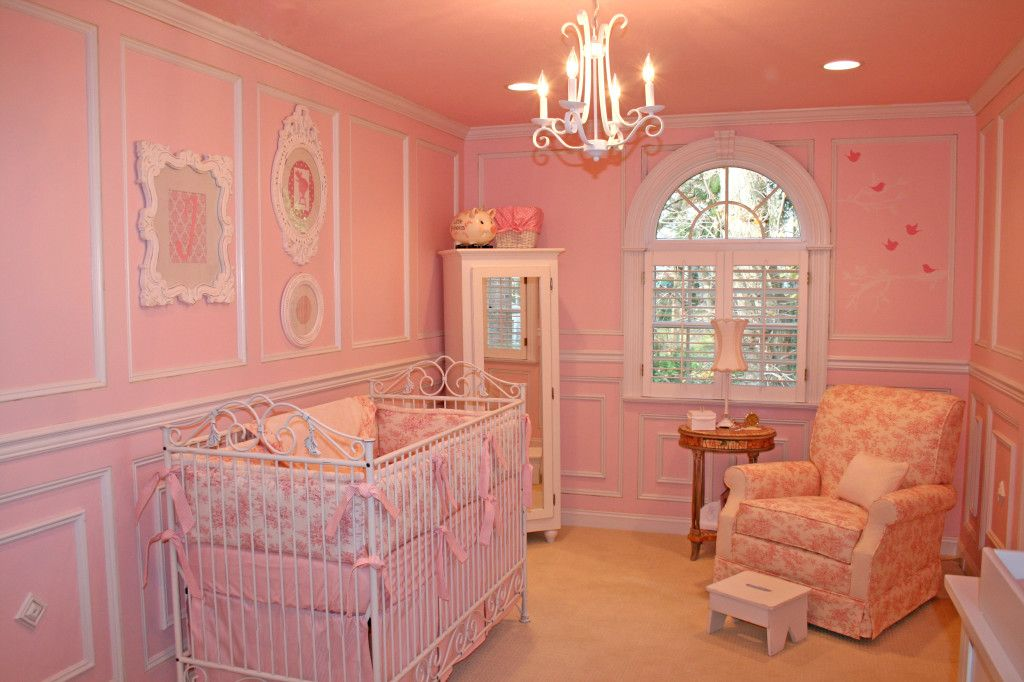Pink Color for Modern Romantic Interior Designs. Royal nursery in monolithic pink with white gypsum stucco