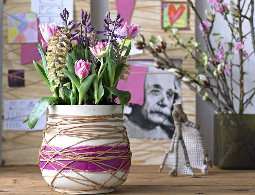How to Decorate your Home with DIY Creative Elements. Rope and ribbon adorned vase