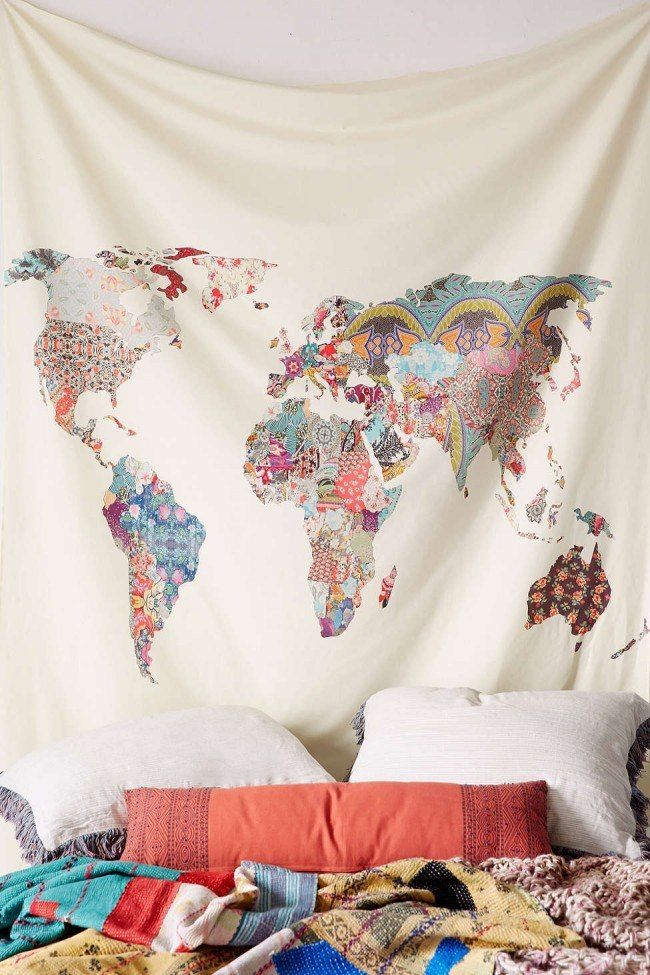 How to Decorate your Home with DIY Creative Elements. World map in the sheet at the headboard