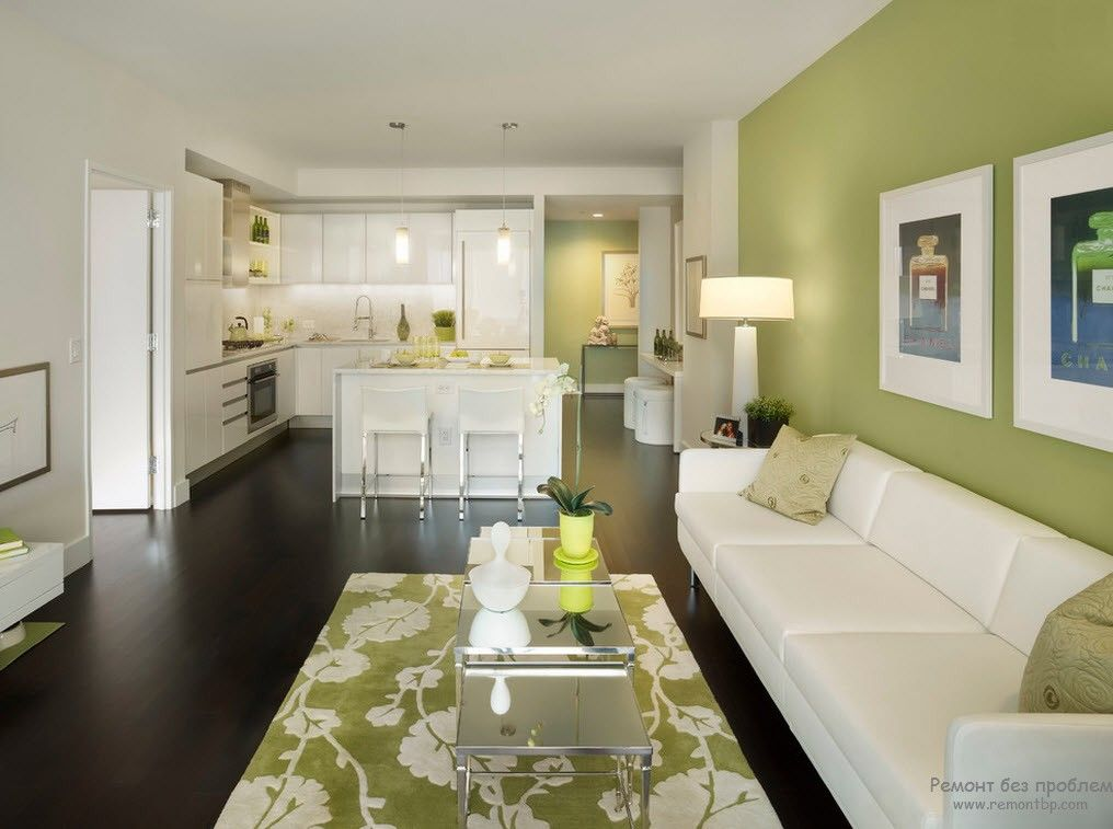 Green Color Interior Decoration Ideas. Bit of Nature at Home. Jade shade for accent wall