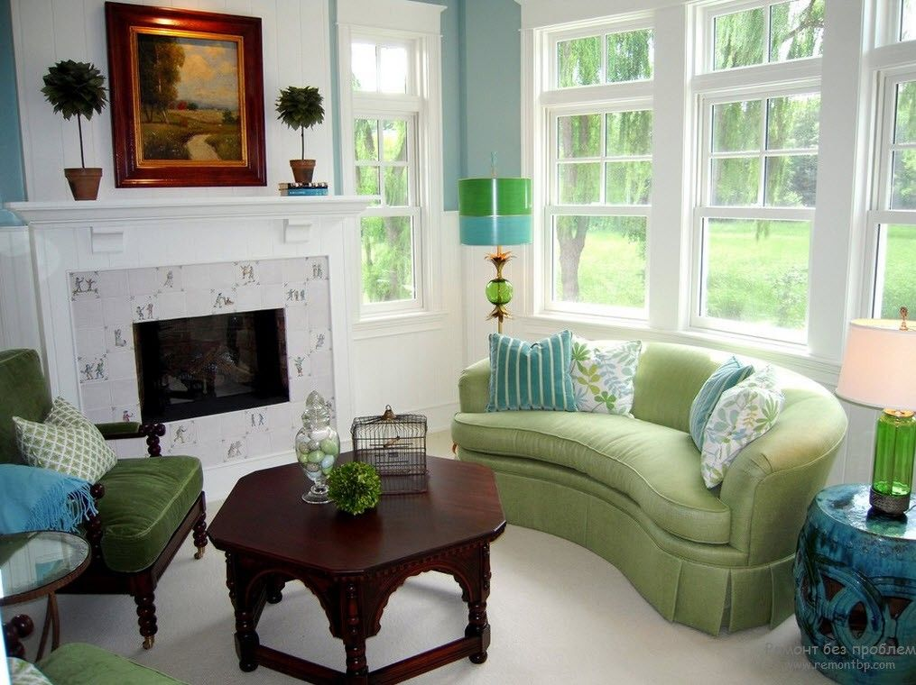 Green Color Interior Decoration Ideas. Bit of Nature at Home. Upshotered furniture makes the accent