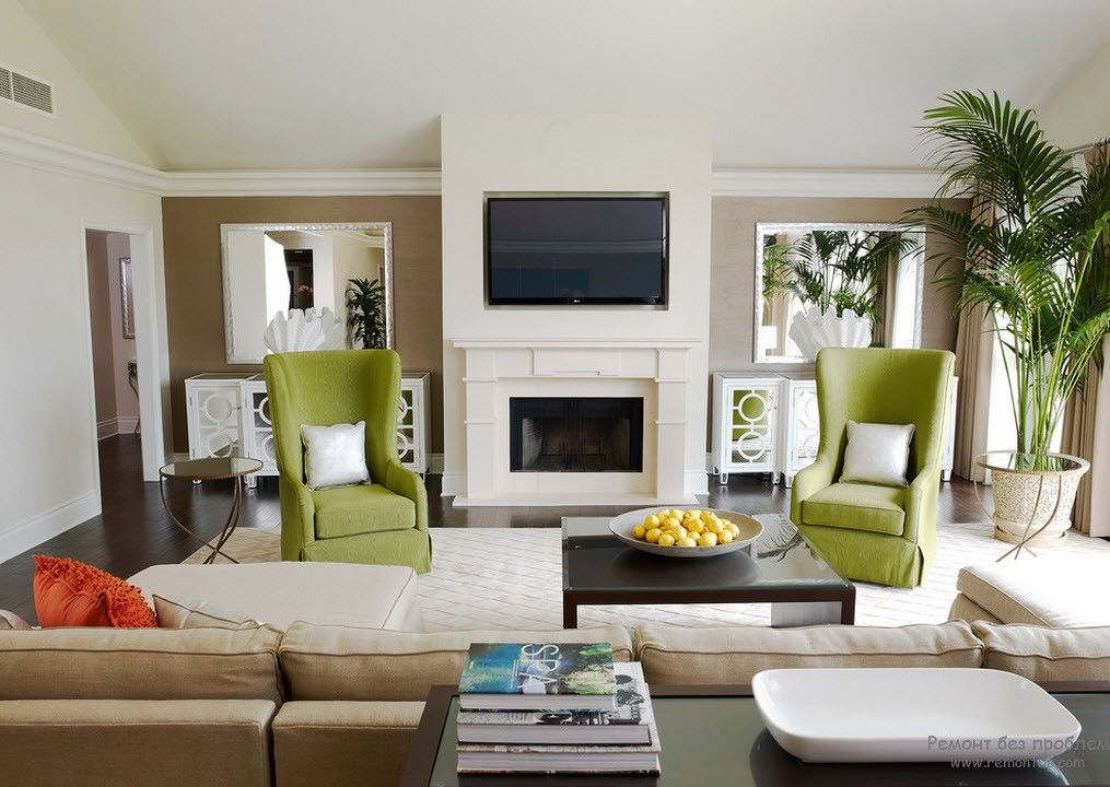 Green Color Interior Decoration Ideas. Bit of Nature at Home. Olive colored arnchiars as the emphasizing of style