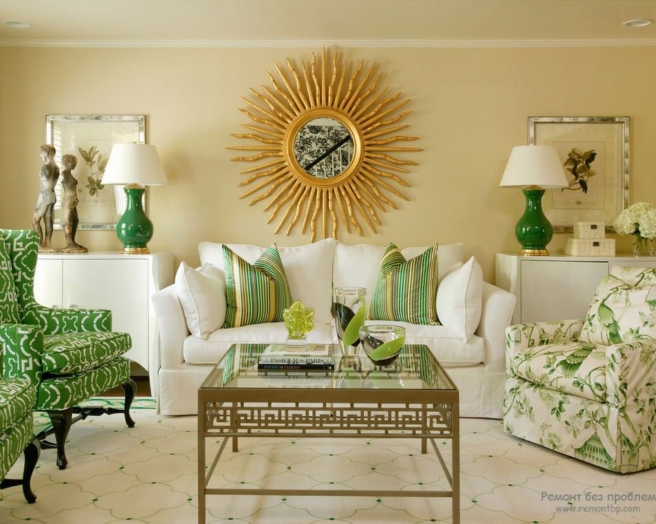 Green Color Interior Decoration Ideas. Bit of Nature at Home. Classic living room with sunburst mirror in the center and green decorating elements