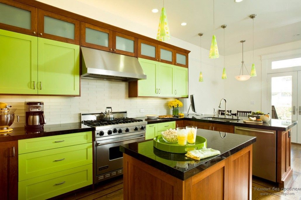 Green Color Interior Decoration Ideas. Bit of Nature at Home. Aspid lime colored kitchen furniture facades