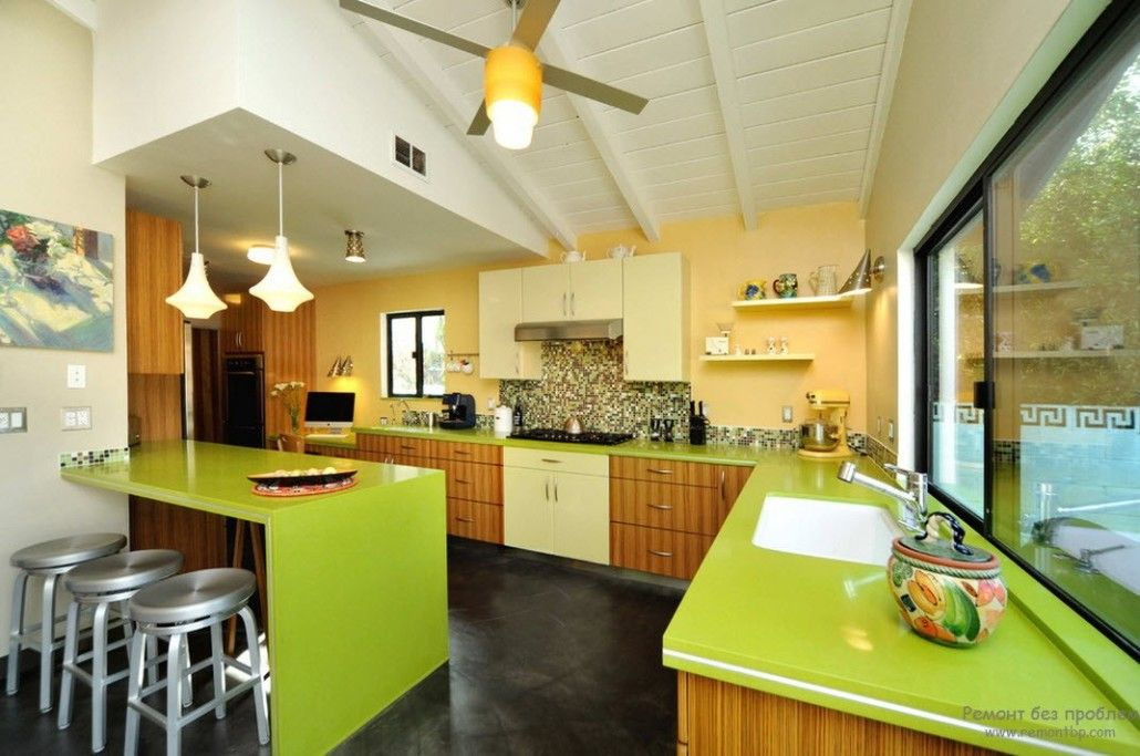 Green Color Interior Decoration Ideas. Bit of Nature at Home. Lime colored tops of the kitchen island and countertop