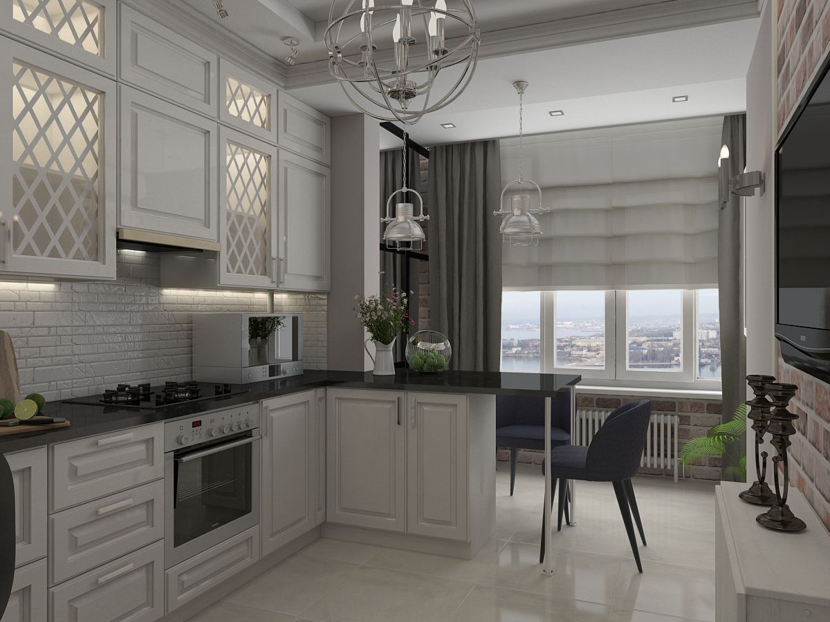 Kitchen Combined with Loggia or Balcony Design Ideas. The former wall is the ending of the kitchen furniture set composition