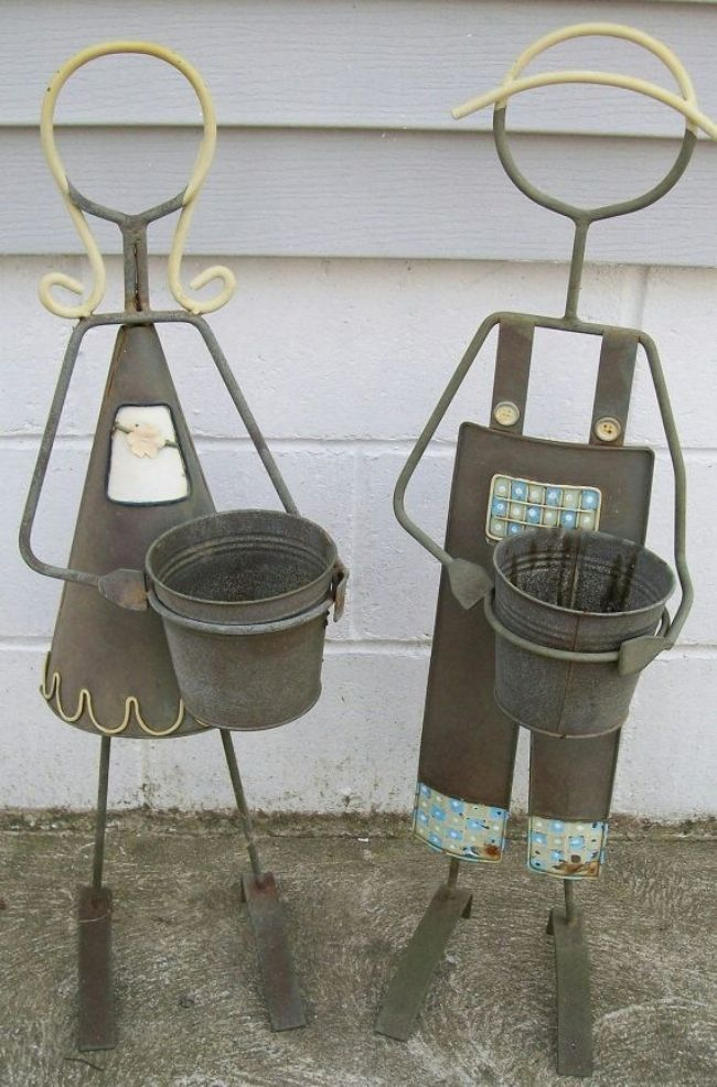 Flower Stand as Functional & Interior Decorating Element. You and me made of steel in the garden