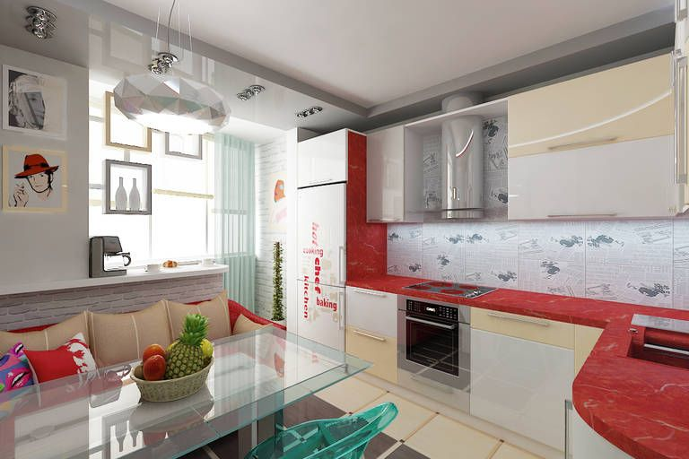 White and red spots at the light furniture set of modern kitchen
