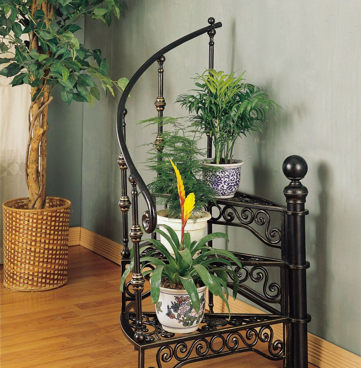Staircase looking forged metal flower stands