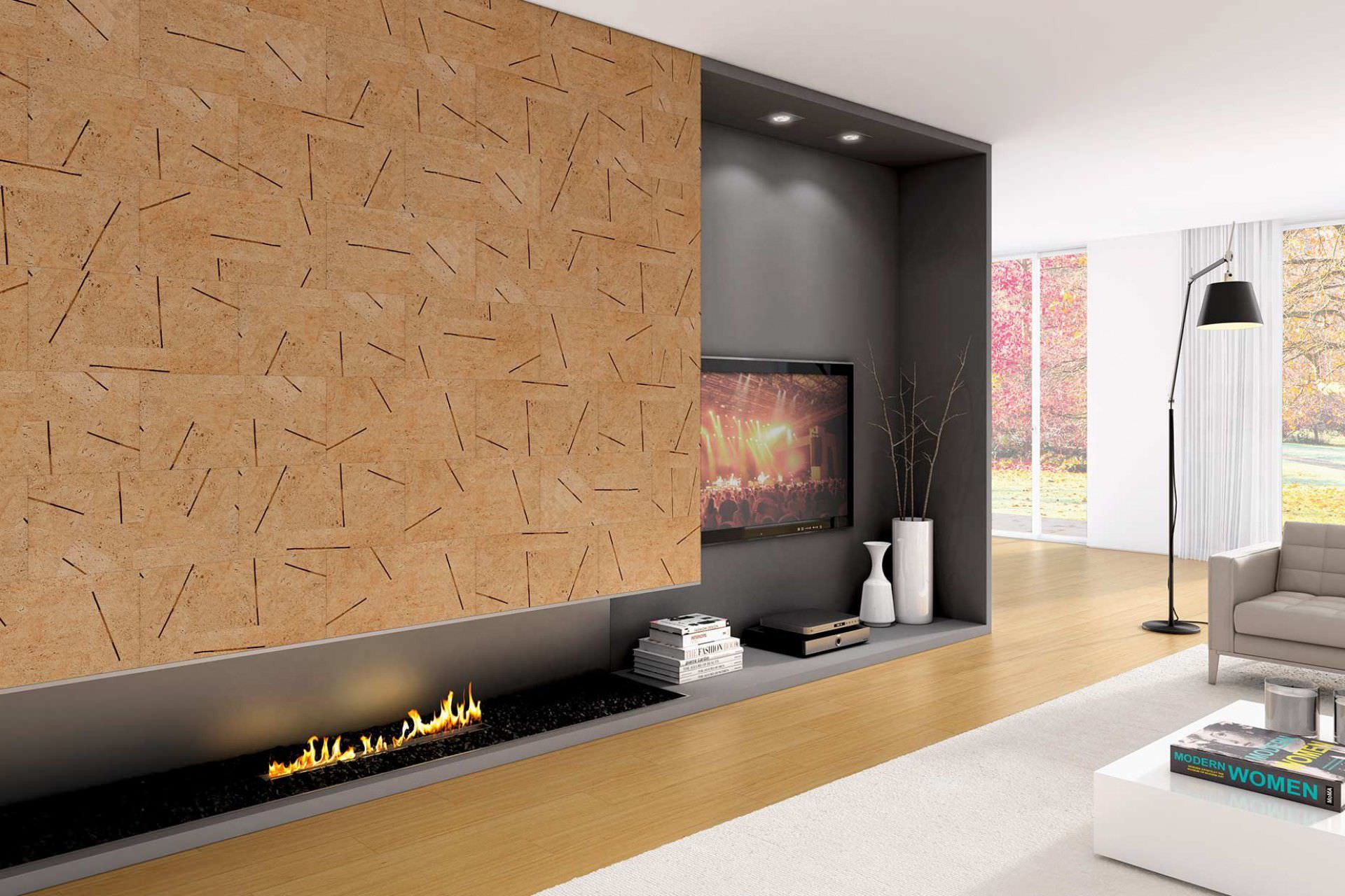 Decorated with cork wallpaper at the hi-tech design with artificial firestone and recessed module with TV