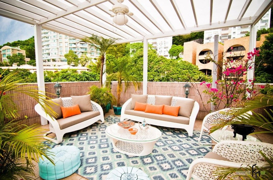 Patio furniture outdoor. Reviewing Types with Photo. White latticed ceilng at the resting zone
