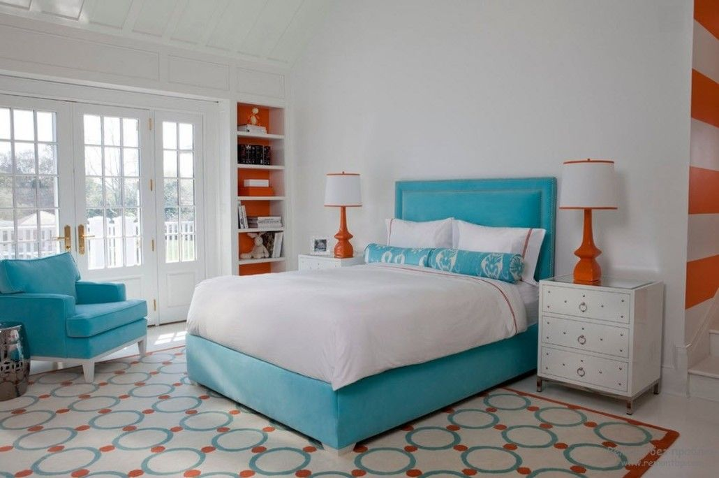 Turquoise Color in Modern Bedroom Interior. Colored platform bed frame