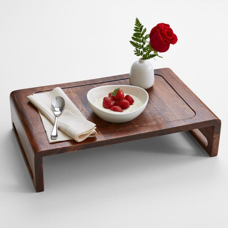 Overbed Table (Bed Tray). Expanding Functionality Element in Modern Home. Dark lacquered wood for the tiny tray