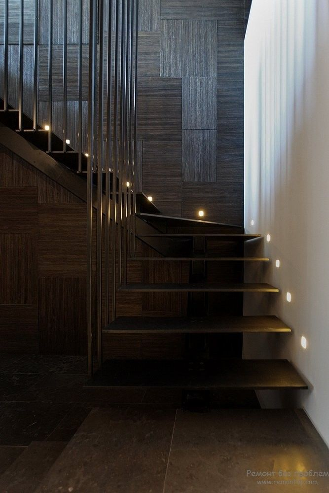Hovering steps of the open staircase in the dark interior