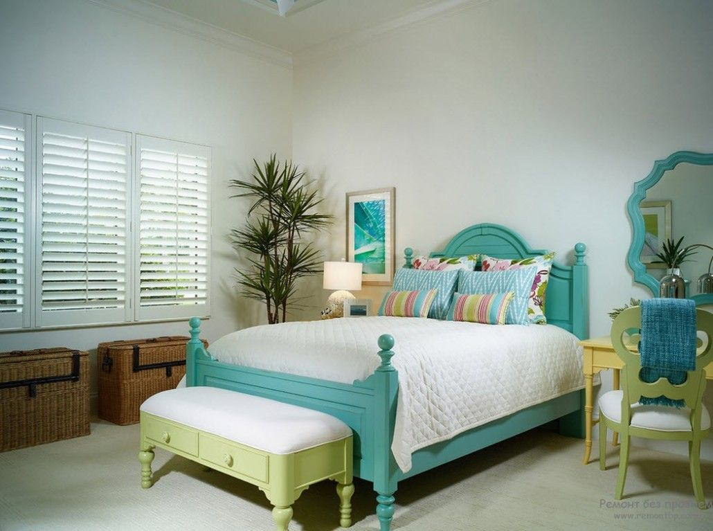 Classic calming atmosphere of the bedroom with turquoise bed