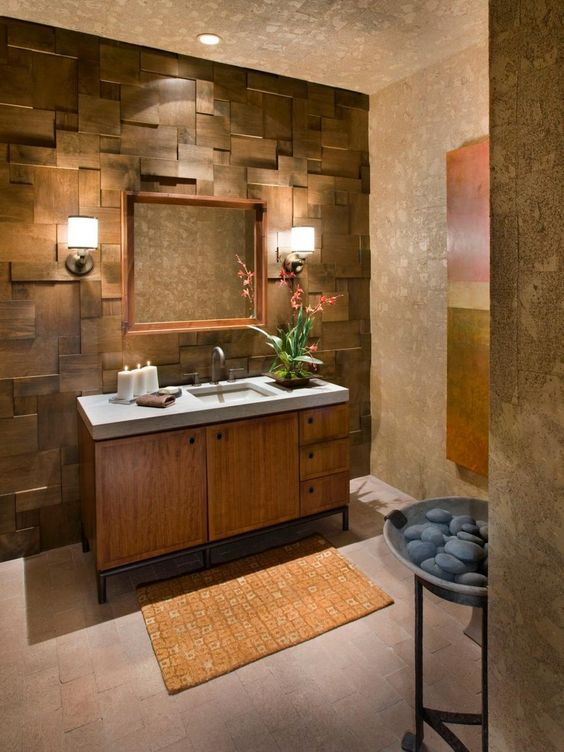 Cork Wallpaper Interior Finishing Advice & Photos. Classic and natural design of the bathroom with walnut colored vanity