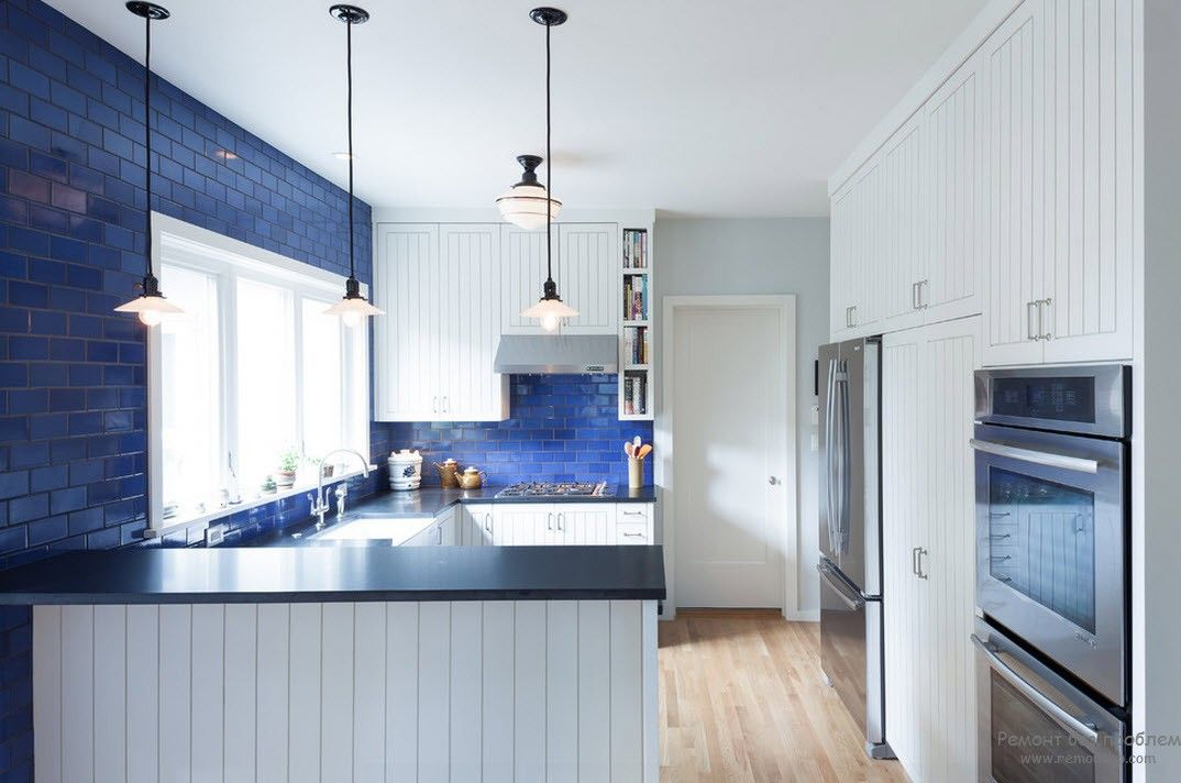Blue inserts in the kitchen