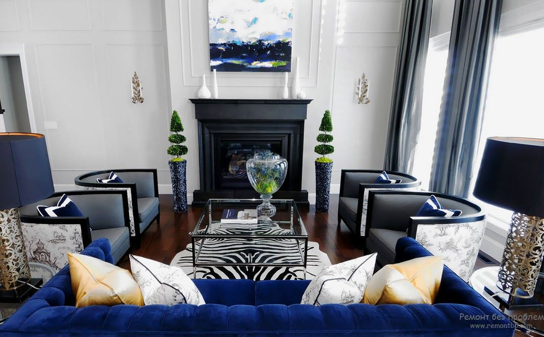 Blue Color Interior Decoraion Ideas. Water Element in Your Home. Succesfful mix of colors and style in the living