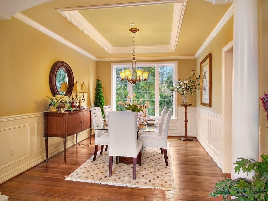 Polyurethane Stucco Interior Finishing & Usage Ideas. Gold color decorated dining room with ceiling zones separated by stucco